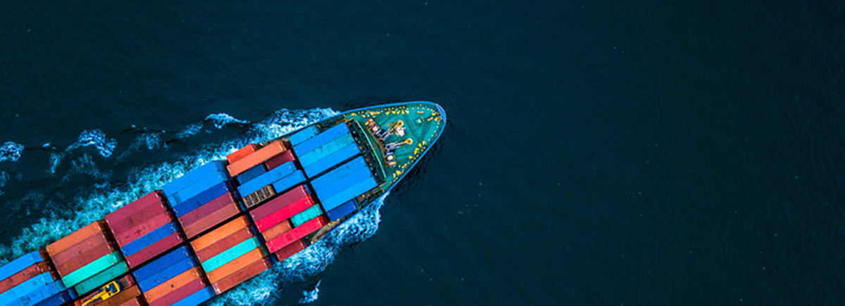 Aerial view from drone, Container ship or cargo shipping busines